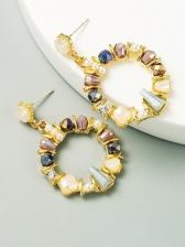 Street Snap Colourful Rhinestone Earrings Women
