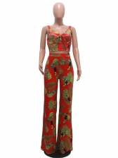Printed Camisole Sexy Cropped Top And Pants Set