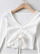 New Solid Drawstring V Neck T Shirt