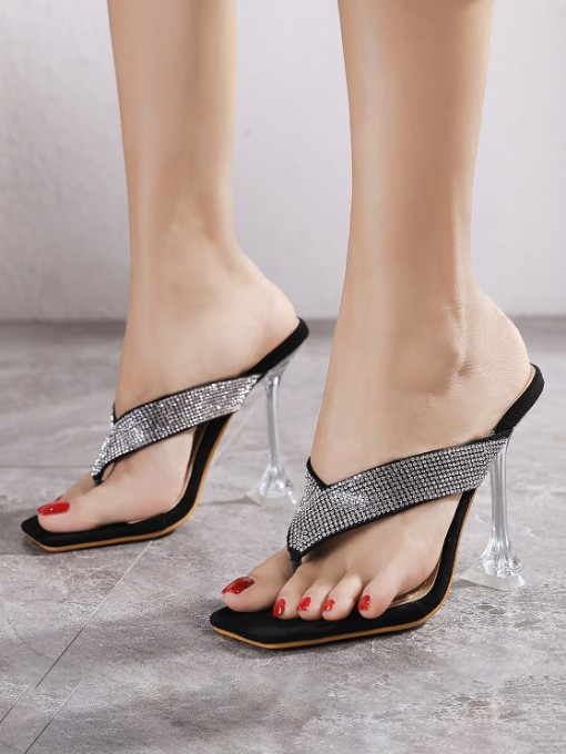 Goblet Clear Heeled Flip Flop Slippers