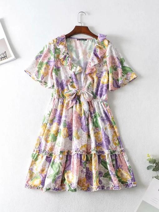 Casual Ruffle Print Short Sleeve Dress