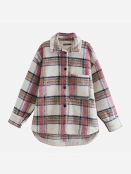 Fashion Contrast Color Pocket Long Coat