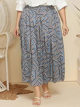 Novelty Geometry Print Design Plus Size Skirt