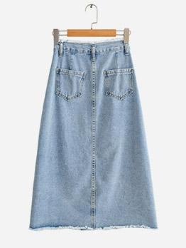 Single Breasted High Waist A-Line Denim Skirt