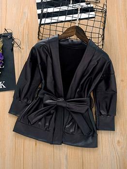 Fashion Black Leather Tie Wrap Girls Coat