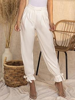 Fashion Solid High Waist Long Pants
