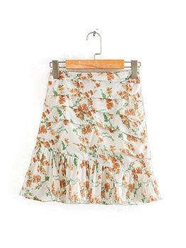 Summer Ruffle Print Chiffon Mini Skirt