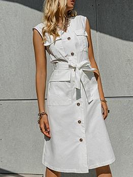 Single-Breasted Pockets Sleeveless Midi Dress