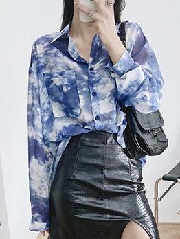 Fashion Tie Dye Loose Chiffon Blouse
