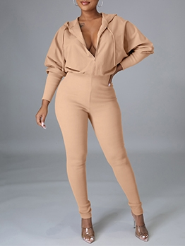 Fitted Solid Hooded One Piece Jumpsuit