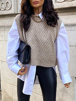 Chic Solid Knitted Sweater Vest