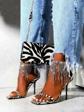 Euro Rhinestone Tassels Square Toe Ladies Sandal