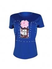 Stereo Flower Sequined Short Sleeve T Shirt