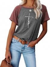 Contrast Color Cross Letter Print Cotton T Shirt
