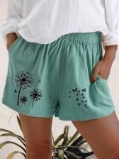 Dandelion Printed High Waist Plus Size Short Pants