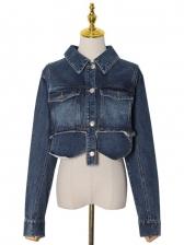 Chic Turndown Neck Irregular Cropped Denim Jacket