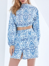 V Neck Printed Lantern Sleeve Top And Skirt Set