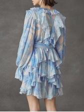 Boutique Printed Irregular Ruffled Long Sleeve Dress