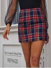 Vintage Contrast Color Women Pencil Skirt