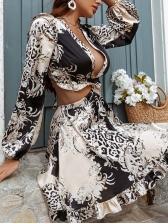 Deep V Printed Backless Cutout Long Sleeve Dress