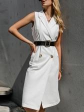 OL Style Solid Sleeveless Blazer Dress