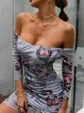 Printed Drawstring Off Shoulder Bodycon Dress