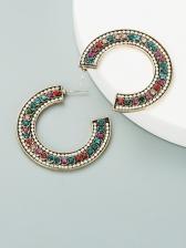 Vintage C-Shape Rhinestone Business Earrings
