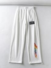 New High Waist Print Track Pants