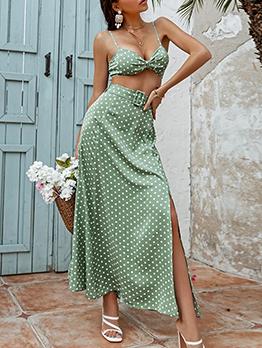 Bohemian Style Polka Dots Bra 2 Piece Outfits