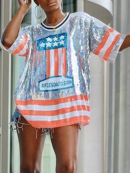 Printing Sequin Short Sleeve T-Shirt Loose