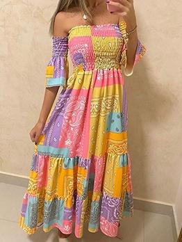 Paisley Print Off Shoulder Maxi Dress For Ladies