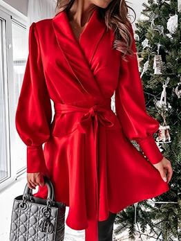 Lantern Sleeve Tie Wrap Satin Long Sleeve Dress
