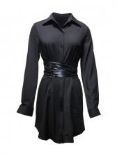 Smart Waist Pure Color Long Sleeve Shirt Dress