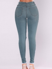 Plus Size High Waist Distressed Jeans For Women