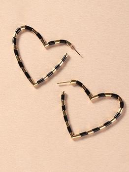 Simple Heart Shape Stylish Personality Earrings