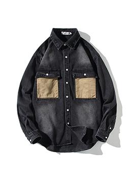 Vintage Loose Contrast Color Denim Outwear