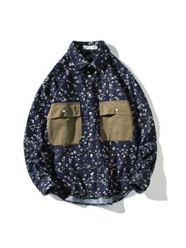 New Patchwork Print Cargo Shirt Coat