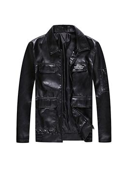 Motorcycle Long Sleeve Black Male Pu Jacket