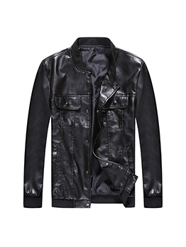Pockets Pure Color Pu Motorcycle Jacket