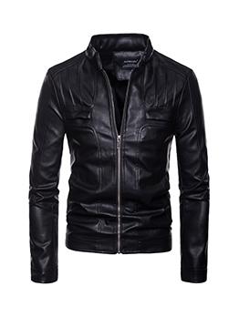 Stand Collar Zipper Up Long Sleeve Jacket