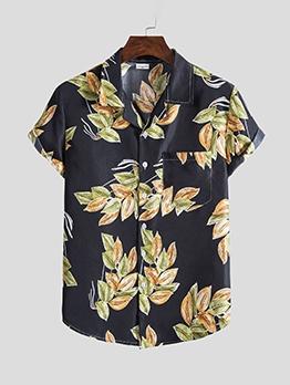 Fashion Leaves Printing Turn-Down Collared Shirt
