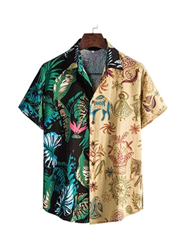 Color Block Printed Male Shirts For Men