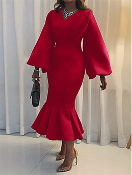 Chic Solid Ruffled Long Sleeve Maxi Dress
