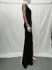 Chic Inclined Shoulder Sequined High Slit Evening Dress