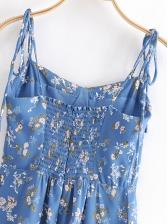 Vintage High Slit Floral Sleeveless Midi Dress