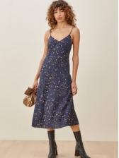 Retro Dots Printed Camisole Sleeveless Midi Dress