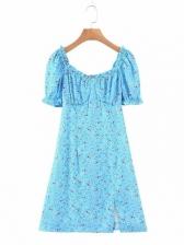 Chic Side Slit Printed Short Sleeve Dress