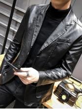 Lapel Pockets Solid Long Sleeve Pu Outwear