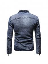 Chic Stand Collar Zipper Denim Jacket