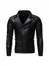 Slant Zipper Up Solid Pu Men Jacket